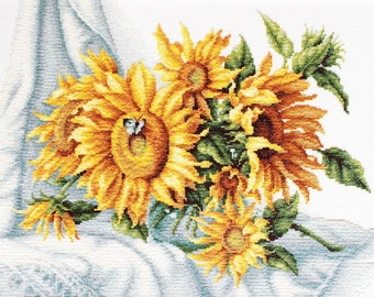 sunflower cross stitch kit flower cross stitch floral counted cross stitch diy stitched home decor xstitch pattern needlework picture