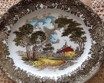 Vintage Oval Plate, Country Style, Hand Engraved, England Vintage, 12 inch plate, Vintage Platter W H Grindley