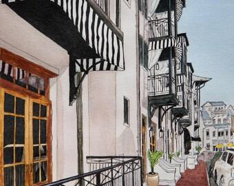 Art Print Rosemary Beach Street Scene No 2 -  8 x 10