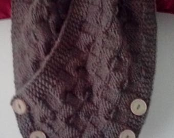 Handknitted cowl neckwarmer scarf with buttons - nice gift - FREE UK P&P