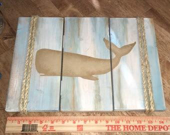 Beach Wooden Sign Whale  Wall Hanging Home Decor Rustic Beach Wood Nautical