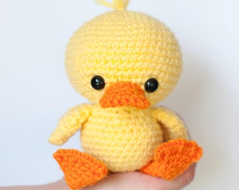 PATTERN: Dilly the Duck - Crochet duck pattern - amigurumi duckling - crochet duck pattern - crocheted duck softie - PDF crochet pattern