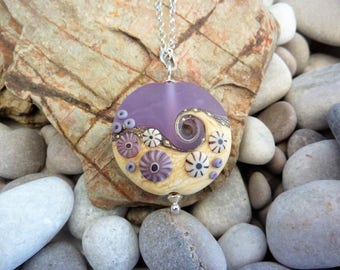 Sea Mist, handmade glass bead, extra large lentil pendant, by Beach Art Glass in the UK