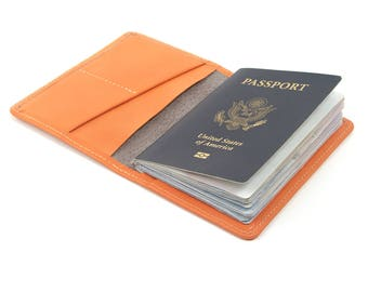 Passport cover and wallet Salmon, coral leather. Made in USA