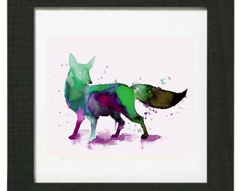 cold dyed multicolored Fox print