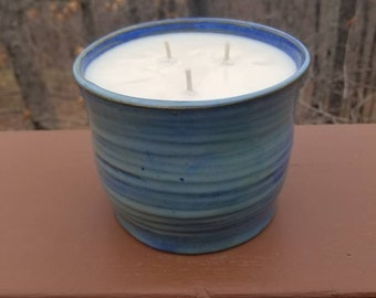 Handmade pottery bowl, citronella candle, agateware, marbled clay,  small bowl, ring trinket bowl, soy wax, FREE SHIPPING