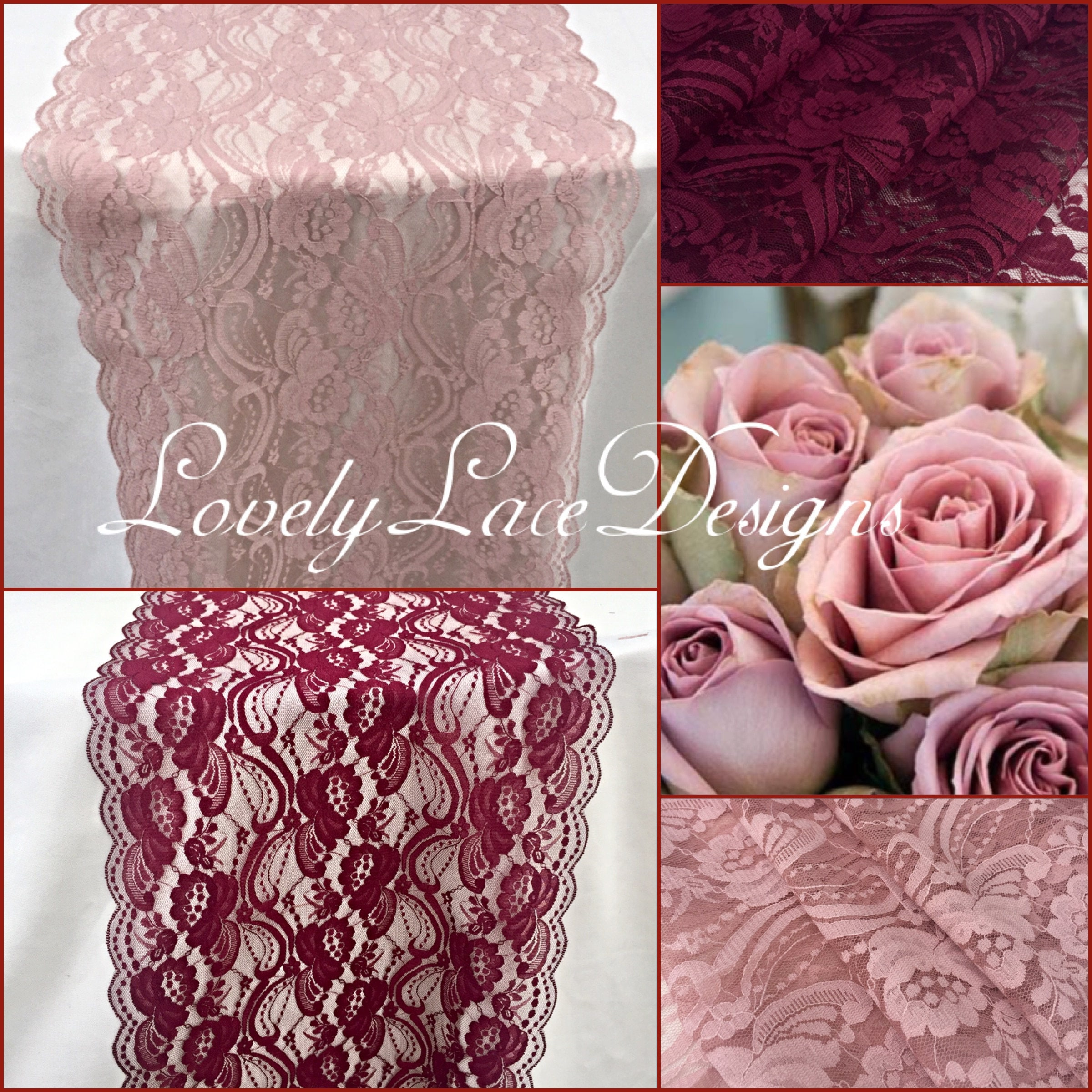 Excellent Burgundy/Dusty Rose / Lace Table Runner/3ft-10ft long x 12 Wide  GM65