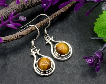 Natural Tiger's Eye Round Gemstone Drop Dangle Earring 925 Sterling Silver E194