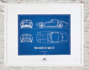 Car blueprint etsy marcos 1800 gt blueprint car decor wall art malvernweather Choice Image