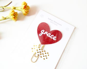 Grace red heart planner clip, Bible journaling kit, prayer journal clip, prayer journaling, unique bookmark custom, book lover gift