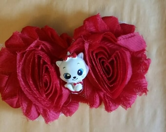 Red Kitty Shabby Chic Hairbow
