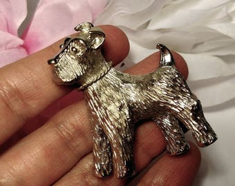 1950s Vintage Large Scottie Scotty Dog Scottish Terrier Brooch Pin