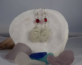 white seaglass earrings wrapped in sterling silver with red Swarovski crystals on sterling fishhook findings