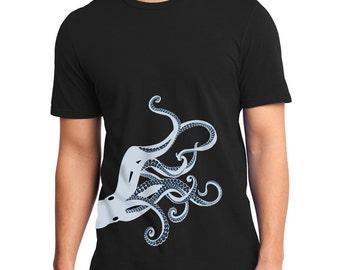 Octopus t-shirt, Tentacles, Men's graphic tee, Octopus print. Kraken black t-shirt, Art T-shirt, Cool t-shirt