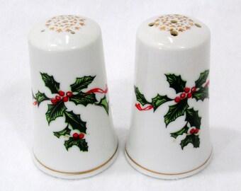 Vintage Lefton Christmas Holly Berry Salt and Pepper Shakers Porcelain