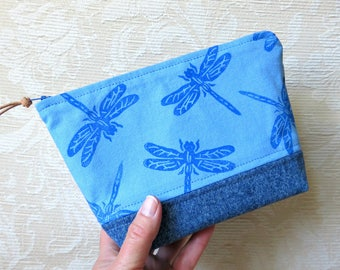Blue Dragonfly Zip Pouch, Hand Printed Fabric and Denim Clutch