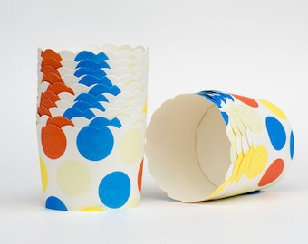 Multi Dots Nut or Portion Paper Baking Cups with Scalloped Tops - Red Blue Cream Yellow - set of 24