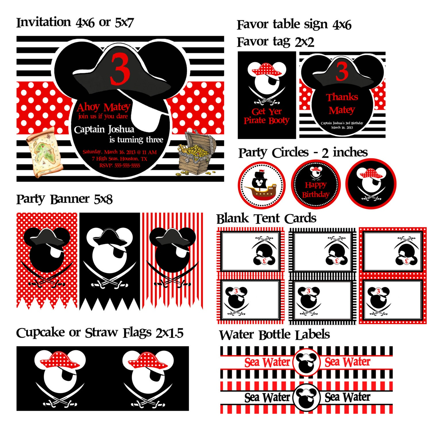 Custom mickey mouse or minnie mouse pirate party printables zoom filmwisefo