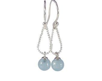 Silver earrings with aquamarine 6 mm | handmade jewelry by Cobaja