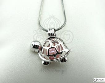 Pick A Pearl Cage Turtle Cute Smile Happy Animal Shell Silver Plated Locket Charm Necklace