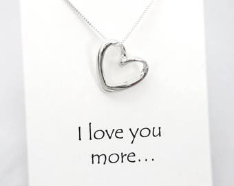 Heart Necklace, Silver Heart Necklace, Valentines Gift, Girlfriend Gift, Gift for Mom, Wedding Necklace, Open Heart Necklace, Gift for Her