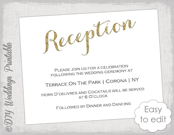 Wedding Reception Invitation Template DIY Gold - Wedding reception invitation templates free