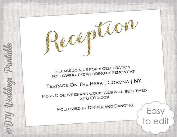 Wedding reception invitation template diy gold for Wedding invitation template for sale