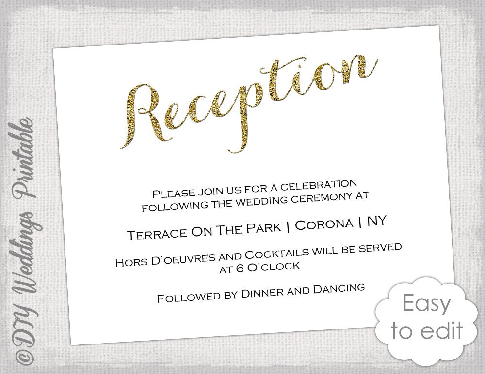 Reception Card Sample Kleobeachfixco - Wedding reception invitation templates free download