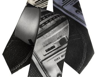 Boombox Print Necktie, Old School Ghetto Blaster Tie. Retro 80's stereo silkscreen print men's tie.