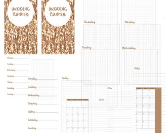 Rose gold glitter wedding week planner-planner insert-wedding planner-instant