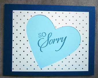 Clean and Simple Handmade Sympathy / Apology / Sorry Card with Blue Heart; Sympathy Card, Apology Card, Sorry Card Stampin' Up!
