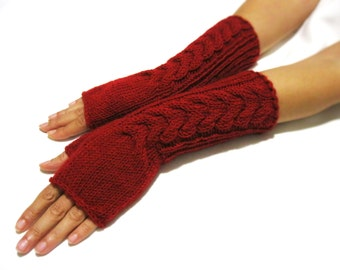 BLACK FRIDAY SALE Knit Fingerless gloves | Knitted Fingerless Mittens | Arm Warmers | Hand Warmers | Boho Glove | Dark Red Winter Gloves