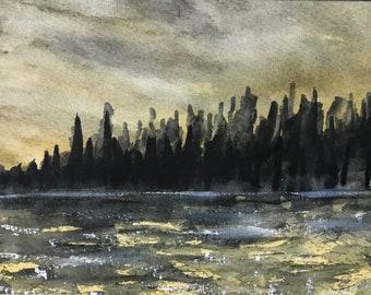 Stormy Lake at Sunset Original Watercolor