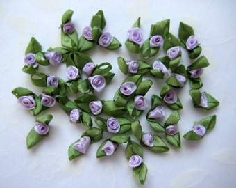 36 pcs Tiny Lavender Ribbon Rosettes with Green leaves Appliqués for Crafting, Sewing, Baby, Doll Clothes, Embellishment 1/2 inch / 13 mm