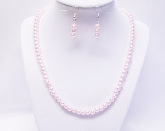 6mm Pink Glass Pearl Necklace & Earrings Set