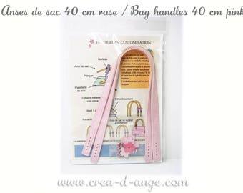 Bag handles 40 cm pink faux leather
