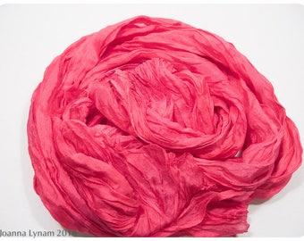 "Hot pink silk scarf~Fuchsia Crinkled Silk Shawl~27x56"" FLAT (.5x1.4m)~Handpainted silk wrap~Hand painted silk scarves~Painted silk scarf~40"