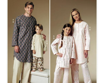 Butterick Pattern B6429 Misses'/Men's/Children's/Boys'/Girls' Buttoned Tunic and Pull-On Pants