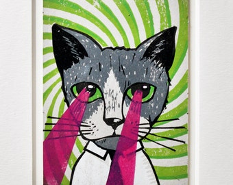 Laser Cat Linocut with Passe Partout