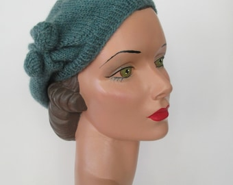 Hand Knit Beret Vintage 1930's Downton Abbey Style Ready to ship