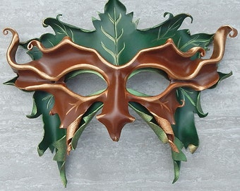 Grandfather Greenman Leather Mask - READY TO SHIP - Layered or Couples Masks, Woodland Mythic Masquerade Costume