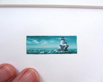 Lighthouse on a Twilight Turquoise Ocean, 8x10 Matted Giclee Print, Tiny Art