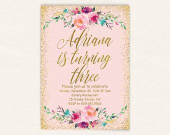 Printable birthday invitation, blush pink gold glitter girls floral third birthday invitation, digital glitter invite birthday party 23a