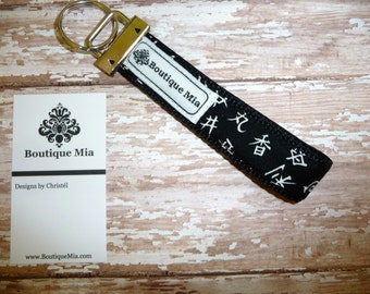 PERFECT GIFT - Key Chain FOB - Key Wristlet - Alexander Henry - Asian Letters - Black and White Damask - Boutique Mia