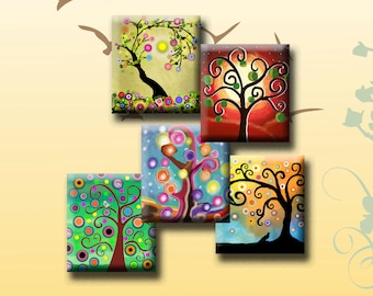 FUNKY TREES - Digital Collage Sheet .75 x .83 inch Scrabble Tile Images. Pendants, magnets, earrings, scrap-booking. Instant Download #60.