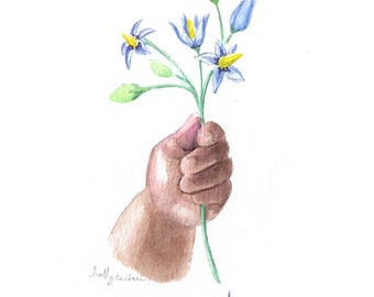 Truth - Original watercolor painting, min painting, mother's day painting, nursery decor, woody nightshade flower, baby's hand