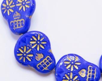 Czech Beads, Sugar Skull Beads, Blue and Gold Skulls, 2 pieces, SSB8, 20X17mm, Jewelry Supplies, Zardenia