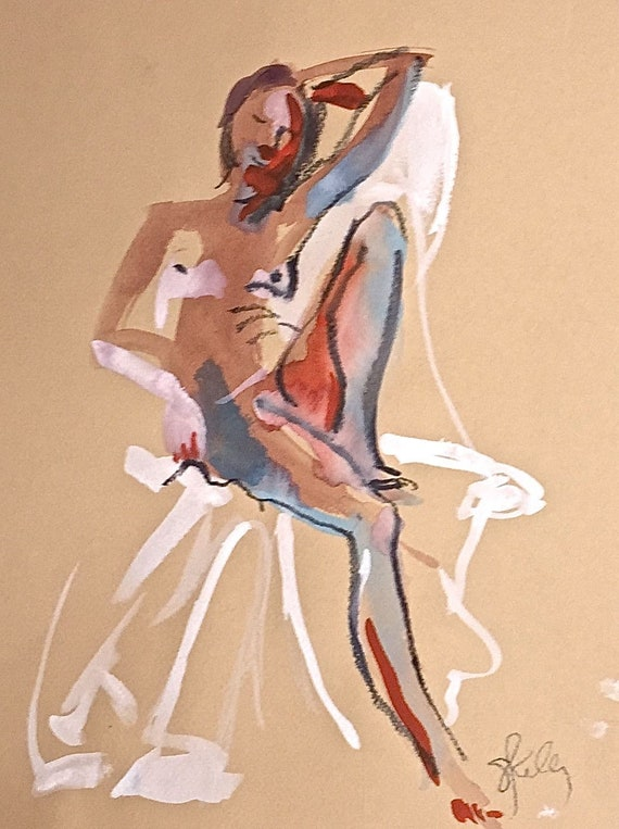 Nude #1525- original watercolor painting by Gretchen Kelly