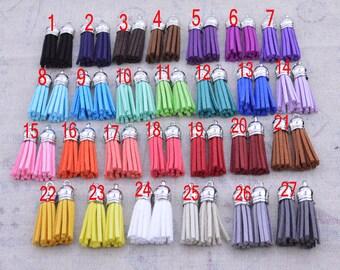 50 Assorted color Tassels, faux Suede leather tassles, leather tassels, suede tassels, tassels for keychains, 1.5'' mini tassels, tassel cap