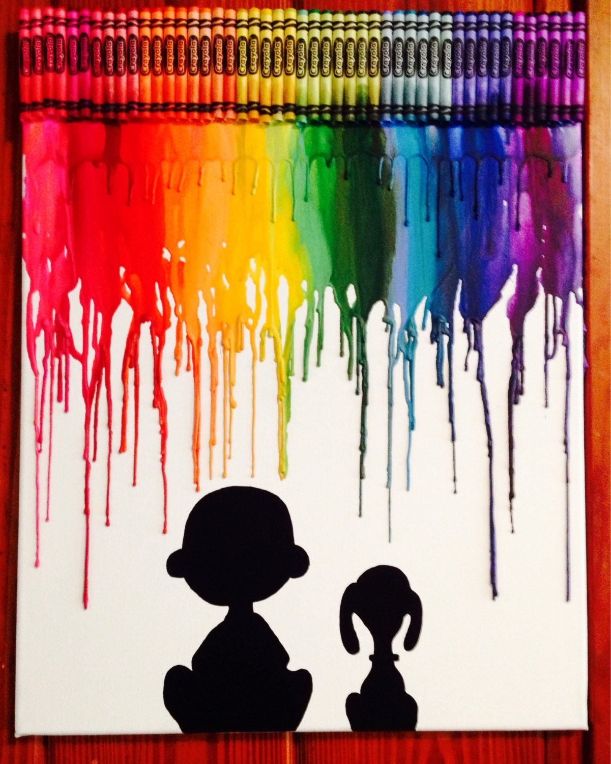 Charlie Brown And Snoopy Inspired Melted Crayon Art